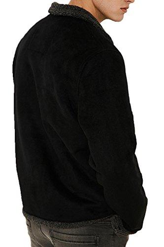 Uomo Threadbare In Pile Casual Black Sherpa Invernale Look Fodera Pecora Cappotto Giacca Lana Da RTqw44E5