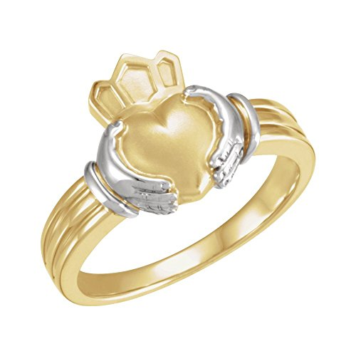 18k Two-Tone Gold (Yellow/White) Gents Men Claddagh Ring