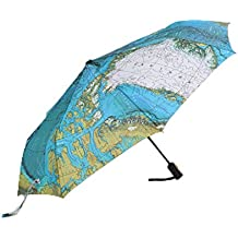 The Arctic Ocean map umbrella auto open and close triple-folding UV protection silver coating compact collapsible parasol