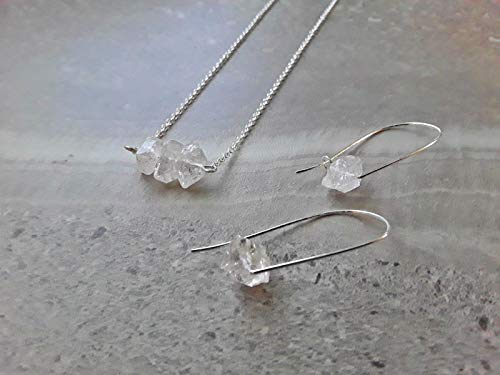 Raw Herkimer Diamond April Birthstone Alternative Three Stone Pendant Necklace and Modern Hoop Earring Gift Set Silver