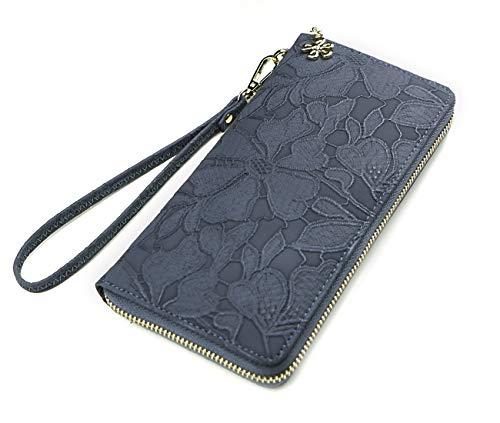 Women's Wallet soft leather wristlet wallet Phone holder designer Ladies Clutch Long Purse large Zipper wallet with Wrist Strap blue grey