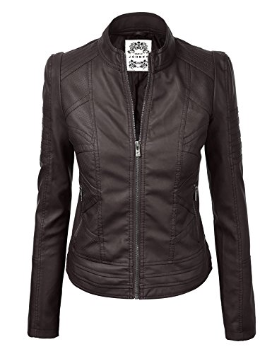 - Made By Johnny WJC746 Womens Vegan Leather Motorcycle Jacket XL Coffee