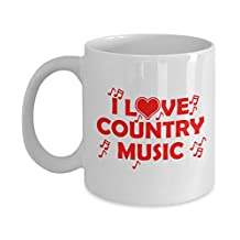 Music Gifts - Love Country Music Coffee Mugs 11 oz