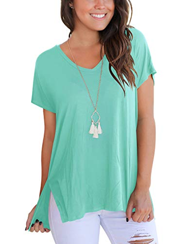 Women's Basic Solid Color Tees Tops Breathable Soft Short Sleeve Cotton T-Shirt Blouses with Side Split M Light Green
