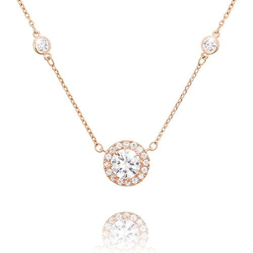 COZLANE Round CZ Solitaire Halo Cubic Zirconia Pendant Necklace Jewelry Gift for Women, Rose Gold Plated Brass ()