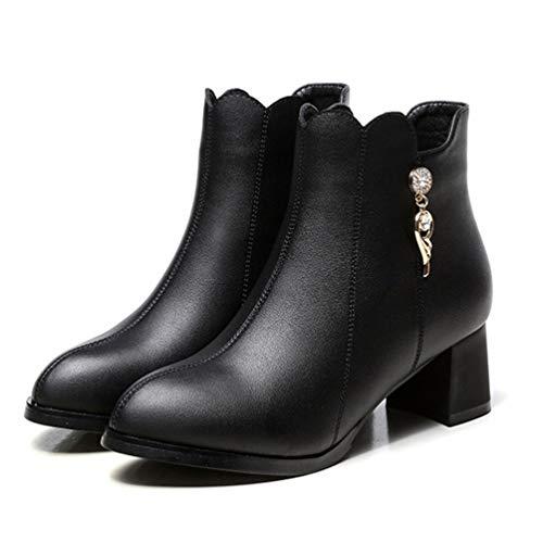 Diamantes De Trabajo Invierno Con Tacones Nieve Imitación Negro Moda Las Botas Altos 7F1qAw