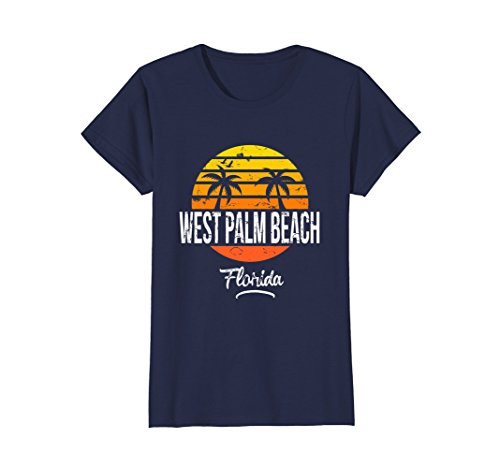 West Palm Florida - Womens West Palm Beach Florida Vintage T Shirt Retro Beach Style Small Navy