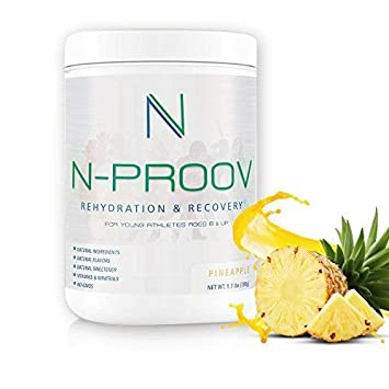 N-Proov Rehydration Electrolyte Powder Sports Recovery Drink Mix 100 Natural Electrolyte Replacement for Young Athletes Ages 8 up, No Sugars, No Additives, No GMOS, 1.7 lb 780g Pineapple