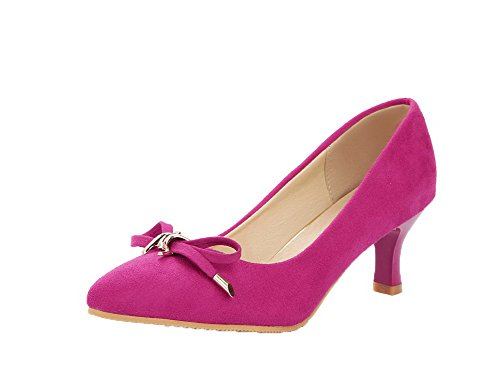 Rosered Suede Kitten Toe Closed On Women's Shoes Imitated Odomolor Pull Court Heels qE1wPpER