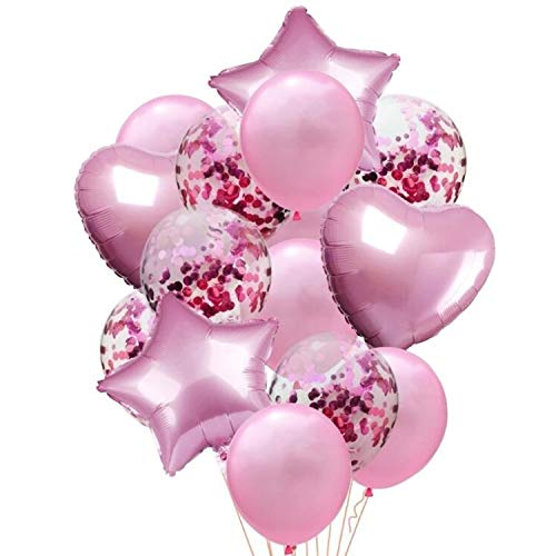 Foil Heart - 14 Pieces Party Balloons Pink Latex Balloons Confetti Balloons and Star Heart Foil Balloons Birthday Party Decoration Kids Baby Shower Wedding Supplies