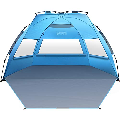 - OutdoorMaster Pop Up Beach Tent XL - Easy Setup, Portable 3-4 Person Tall Beach Shade Folding Sun Shelter with UPF 50+ UV Protection Removable Skylight Family Size