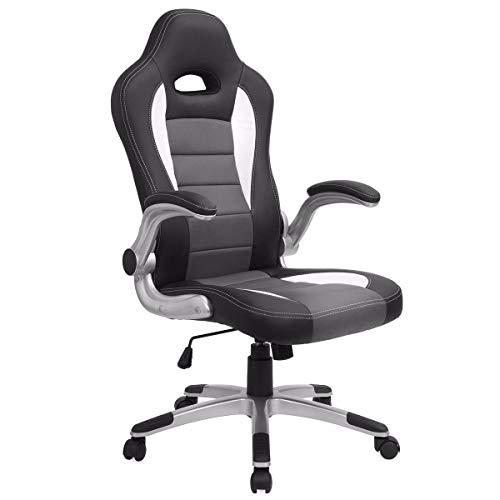 (ZotoyaShop PU Leather Desk Office Chair Ergonomic Computer Swivel Seat Grey)