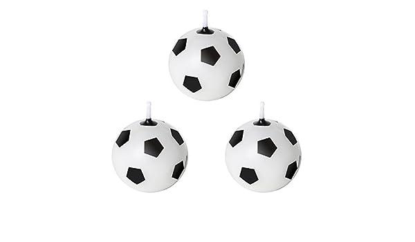 TRIXES 3 x Velas de Cera para Pastel Balón Fútbol - Blanco y Negro ...
