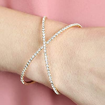 RIAH FASHION Sparkly Rhinestone Bridal Wedding Statement Bracelet - Cubic Zirconia Crystal Stretch Memory Wire/Adjustable Wrist Band Cuff/Hinge Bangle/Delicate Star Heart Flower