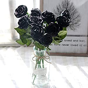 famibay 10pcs Artificial Rose Bouquets Vantage Fake Silk Rose Flowers with Leaf and Plastic Stem for Home Wedding Party Valentine's Day Garden Hotel Decoration Obsidian