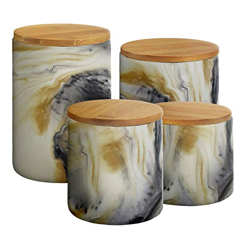 American Atelier 1562505CANRB Marble Canister Set 4-Piece Ceramic Jars Chic Design With Lids for Cookies, Candy, Coffee, Flour, Sugar, Rice, Pasta, Cereal & More Gray 17.2