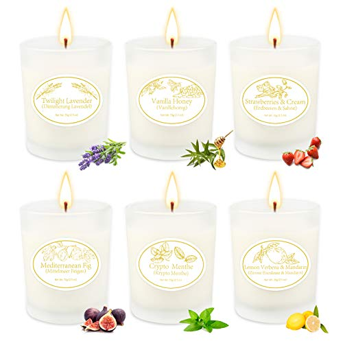 Scented Candles Gift Set, 6 Natural Soy Wax Aromatherapy Candle with Essential Oil for Stress Relief, Smoke-Free Strong…