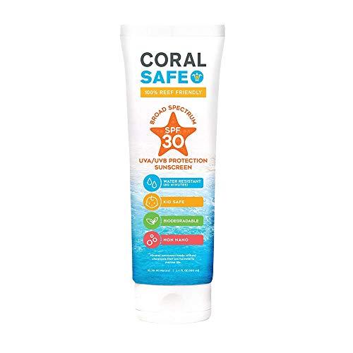 Coral Safe Natural SPF 30 Mineral Sunscreen, Fragrance Free, 3.4 fl oz. Travel Size - Biodegradable, Broad Spectrum Sunblock, Kid and Baby Safe ()