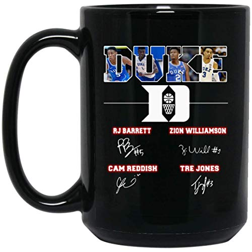 Duke Blue Devils RJ Barrett Zion Williamson Cam Reddish Tre Jones 15 oz. Black Mug Coffee Ceramic Mug/Tea Cup Meaningful Gift for Sport Lovers.