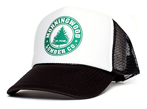 Men Funny Womens Cap - Morning Wood Lumber Co Established 7:45 AM Funny Unisex Adult One-Size Hat Cap Multi (White/Black)