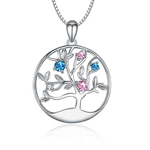 LONAGO 925 Sterling Silver Necklace Family Tree Necklace Disc Tree Pendant Necklace with Cubic Zirconia Family Tree of Life Necklace Gift for Mother Grandma Aunt Wife Daughter -