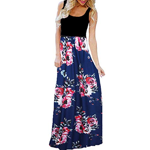 asual Sleeveless O-Neck Print Maxi Tank Long Dress Slim Fit Waist Loose Flowy Hem Dress(Navy,US-14/CN-3XL) ()