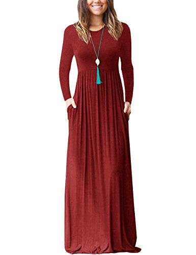 Loose Pocket Dress, BSG Women's Casual Long Sleeve Long Maxi Tunic Dresses Wine Red - Sleeve Pleat Maternity Dress