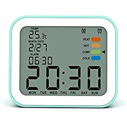 Alarm Clock for Kids,with Multiple Alarms,Thermometer,Backlight,Snooze,Date,Battery Powered Alarm Clock for Bedrooms,Small,Teal Blue
