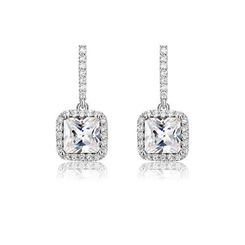 Carleen Sterling Silver Round/Pear/Tear CZ Cubic Zirconia Long Dangle Drop Earrings Fine Jewelry For Bridal Women Girls (Square)
