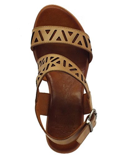 Mercante di Fiori ON 744 Camel - Sandalias de vestir de Piel para mujer Camel