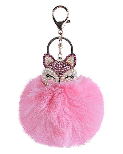 niceeshop(TM) Fox Fur Pom Pom Ball Keyring Women Keychain Bag Purse Charm (Pink)