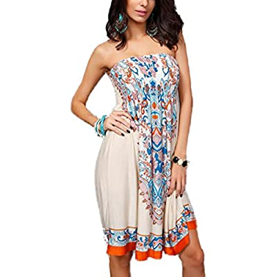 LXS'STORE LIXIANSHI Women Summer Dresses Backless Printing One-Piece Off Shlouder Sleeveless Loose Dress for sale