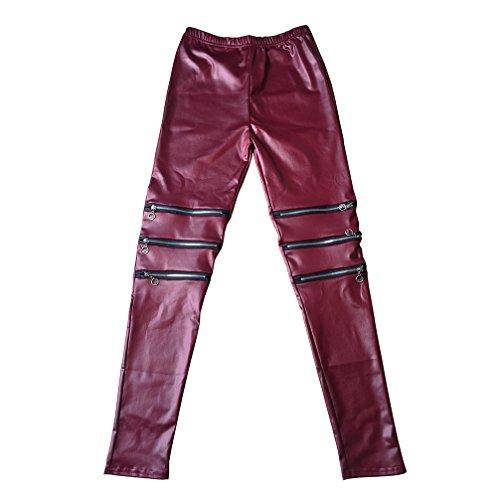 - RieKet Women's Faux Leather Leggings Juniors Skinny Stretchy Pants (L, Burgundy)