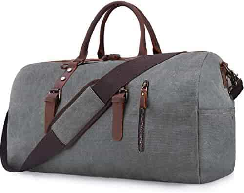 Travel Duffel Bag Large Canvas Duffle Bag for Men Women Leather Weekender  Overnight Bag Carryon Weekend 7d87fd2180060