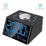 FAEX Decent Alarm Clock Radio with FM Radio,Dual USB Charging Ports,Temperature Display,Dual Alarms with 27 Alarm Sounds,5 Level Brightness Dimmer,Headphone Jack,Bedrooms Sleep Timer