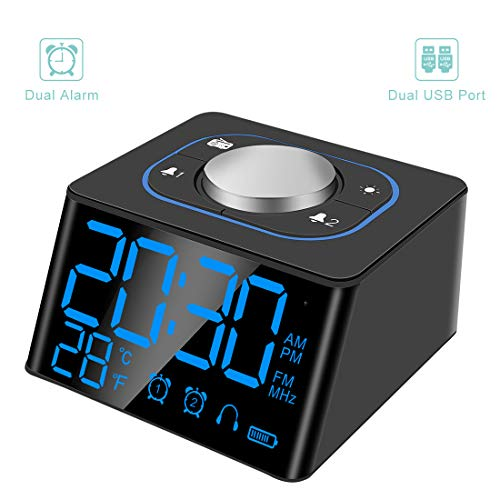 FAEX Alarm Clock Radio with FM Radio, Dual USB Digital Alarm Clock with Temperature Display/27 Alarm Sounds/5 Level Brightness Dimmer, Atomic Led Electric Clock for Bedrooms, Snooze time Adjustable