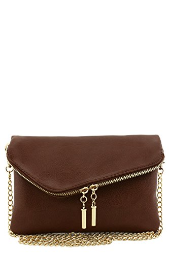 Envelope Wristlet Clutch Crossbody Bag with Chain Strap (Light Brown)