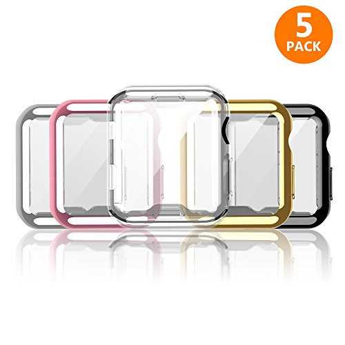 iHYQ For Apple Watch Case 38mm 5 PACK, Slim Soft TPU Lightweight iWatch Screen Protector Bumper Cover for Apple iWatch Series 1, Series 2, Series 3 by iHYQ