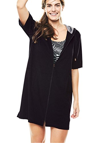 Swim 365 Women's Plus Size Hooded Terry Swim Coverup with Side Slits - Black, ()