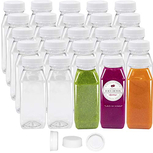 Pack of 48 Empty PET Plastic Juice Bottles - 8 oz Reusable Clear Disposable Milk Bulk Containers with White Tamper Evident Caps]()