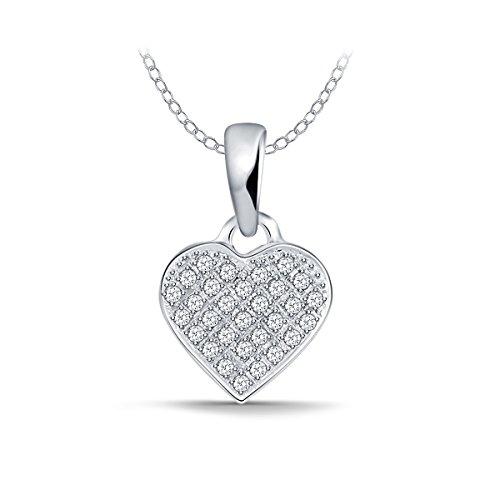 EternalDia 1/10 Cttw Heart Diamond Pendant Necklace in 10kt White Gold (IJ / I2-I3) 18