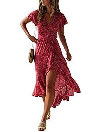 Women's Bohemian Floral Printed Wrap V Neck Short Sleeve Split Beach Party Maxi Dress