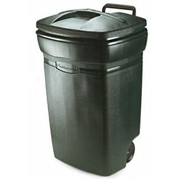 Rubbermaid RM134501 Forty Five Gallon Rectangular Evergreen Wheeled Trash  Can 45 Gallon/170.3L
