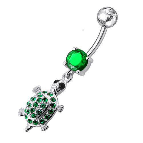 Fancy Turtle Charm (Dark Green Gemstone Fancy Turtle Dangling 925 Sterling Silver with Stainless Steel Belly Button Navel Rings)