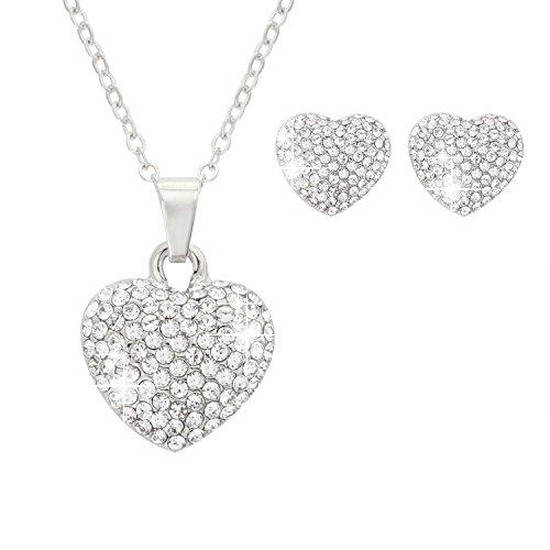 Rhinestone Heart Jewelry (Jane Stone Fashion Silver Pendant Necklace Stud Earrings Heart Shaped Rhinestone Crystal Wedding Jewelry Set for Women)