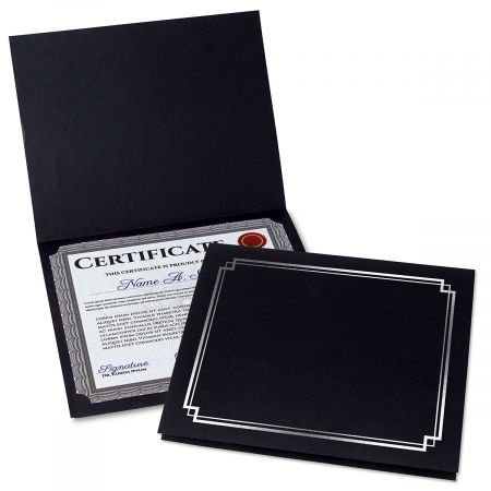 Classic Black Certificate Folder w/Silver Border - Linen Cover Stock - Set of 50, 9-1/2'' x 12'' Folded w/Diecut Corners on 80 lb. by Current