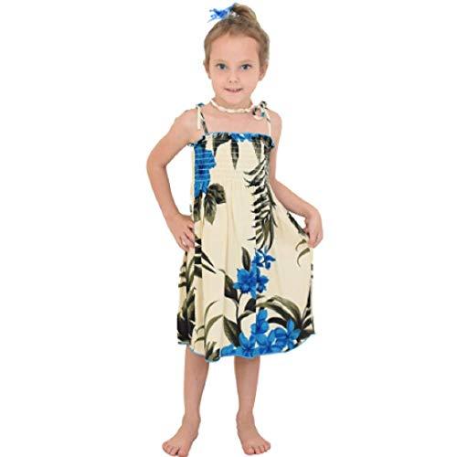 (Favant Girls Tube Dress Hawaiian Floral Leaf Print Beach Aloha Elastic Sundress Summer Party (12, Cream & Blue Leaf) )