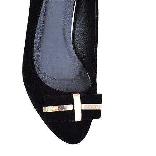 AllhqFashion Mujer Gamuza Slip-on Tacón Medio Puntera Redonda ZapatosdeTacón Negro