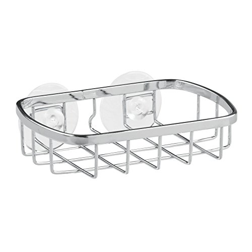InterDesign Gia Stainless Steel Suction Soap Dish for Bathroom Shower – Pack of 2, Chrome ()