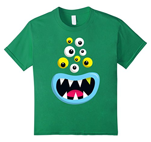 Kids Monster Halloween Costume Shirt: Cute Scary Cartoon Monster 4 Kelly (Super Cute Couples Halloween Costumes)